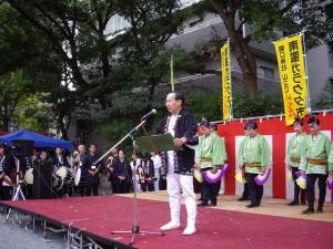 すずめ踊り・夢舞台(開口神社)で口上
